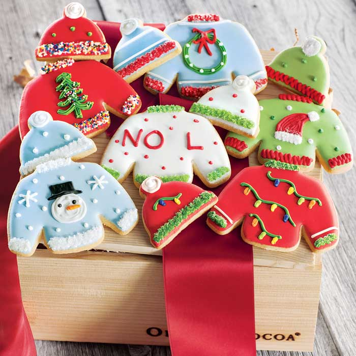 Ugly Christmas sweater cookie gourmet gift box from Olive & Cocoa