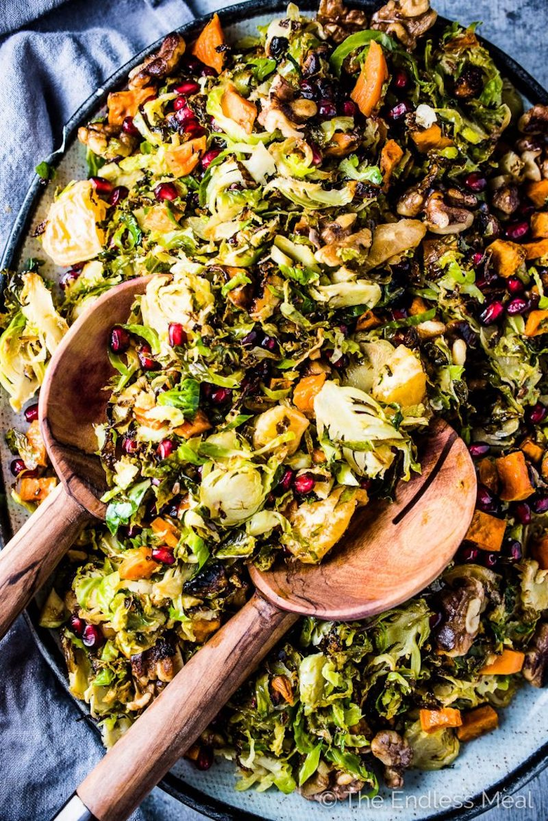 Vegetarian Thanksgiving recipes: Shaved Brussels Sprout Salad at The Endless Meal