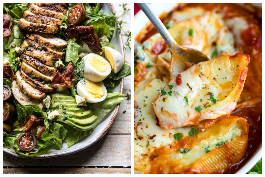 Weekly meal plan: Cobb Salad at Halfbaked Harvest and Stuffed Pasta Shells at Peas and Crayons