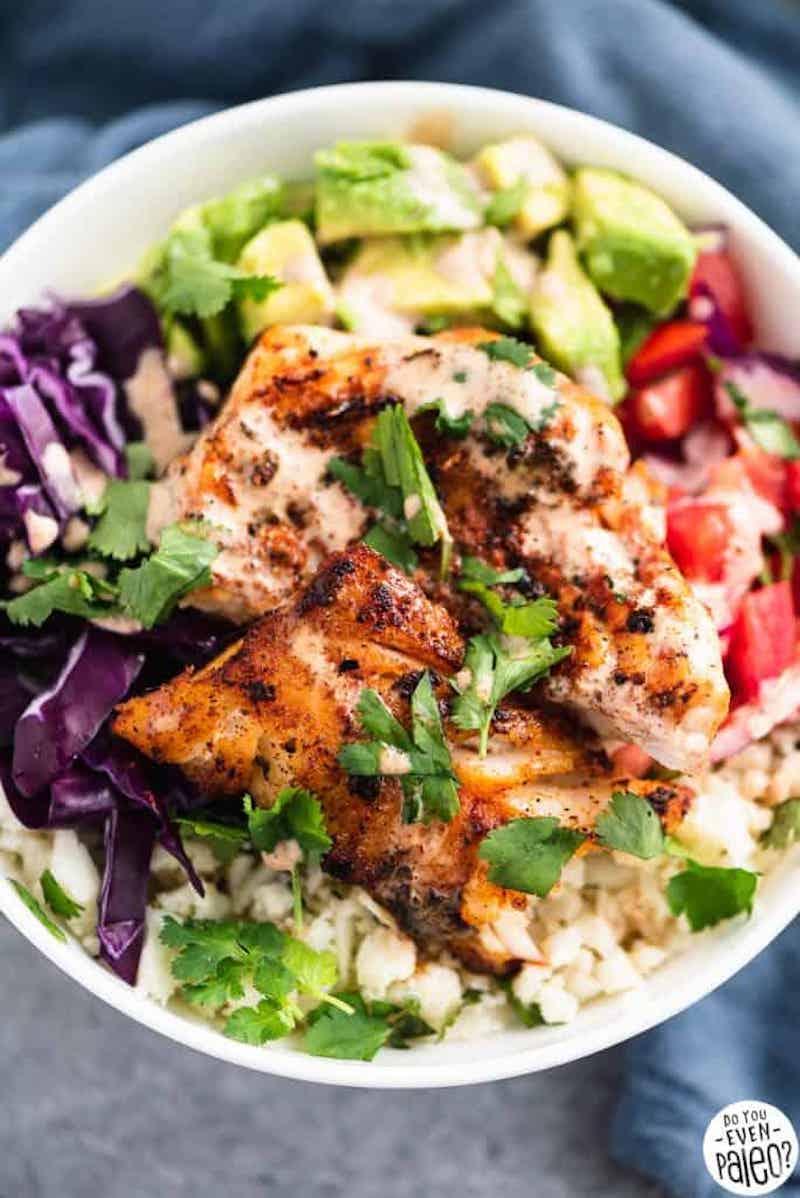 Weekly meal plan: Fish Taco Bowls at Thyme and Joy