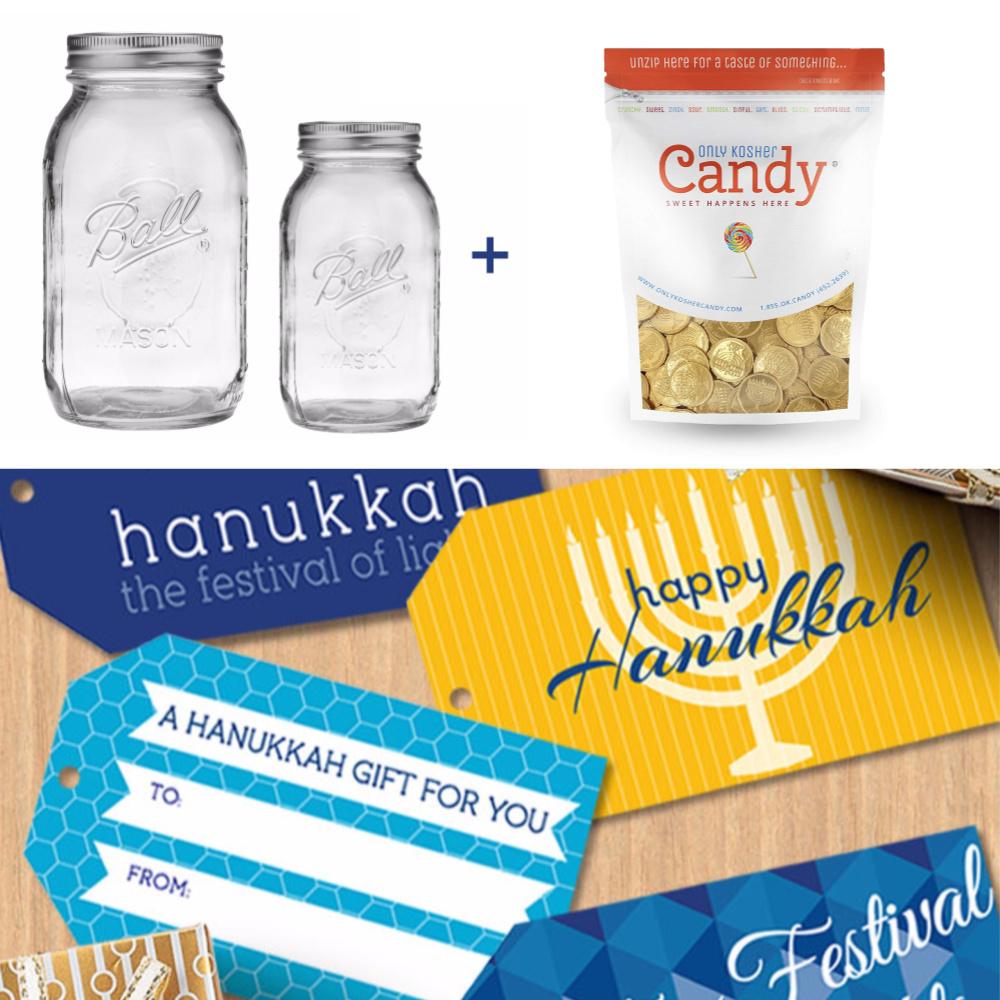 DIY Hanukkah gelt mason jar gift | Cool Mom Eats | printable gift tags: A StarStreamDesign on Ets