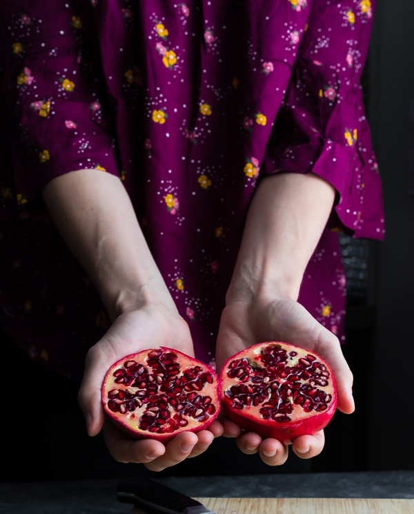 Good-luck foods for new year: Pomegranate on Sweet Peas and Saffron