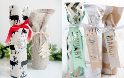 8 ways to wrap wine for holiday gifts and make things more festive and creative! | Here: The Everygirl and The Creative Bite