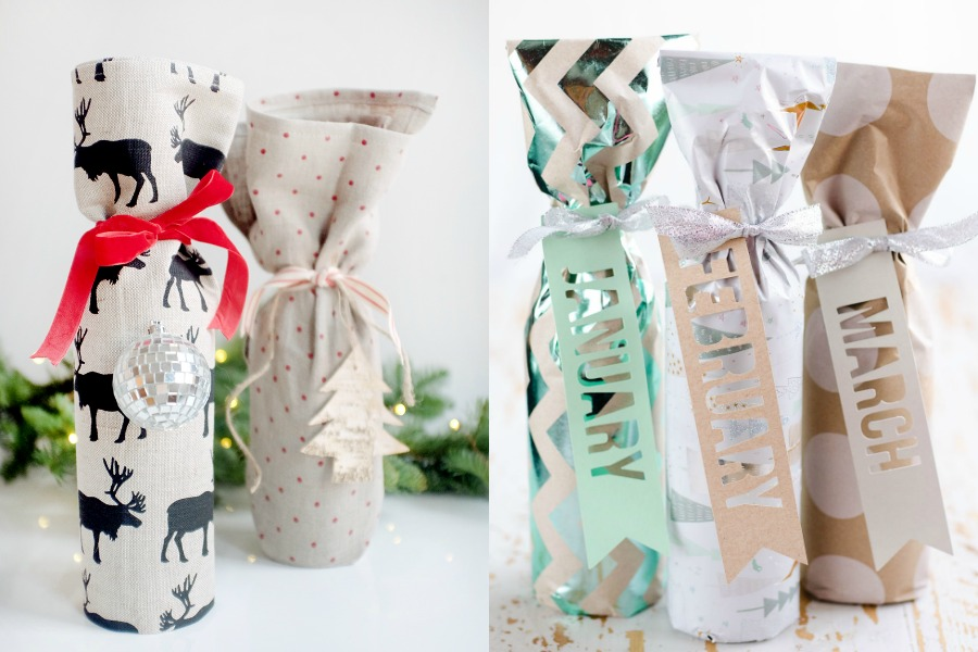 8 creative, easy ways to wrap a bottle of wine to make a holiday wine gift a little more gifty