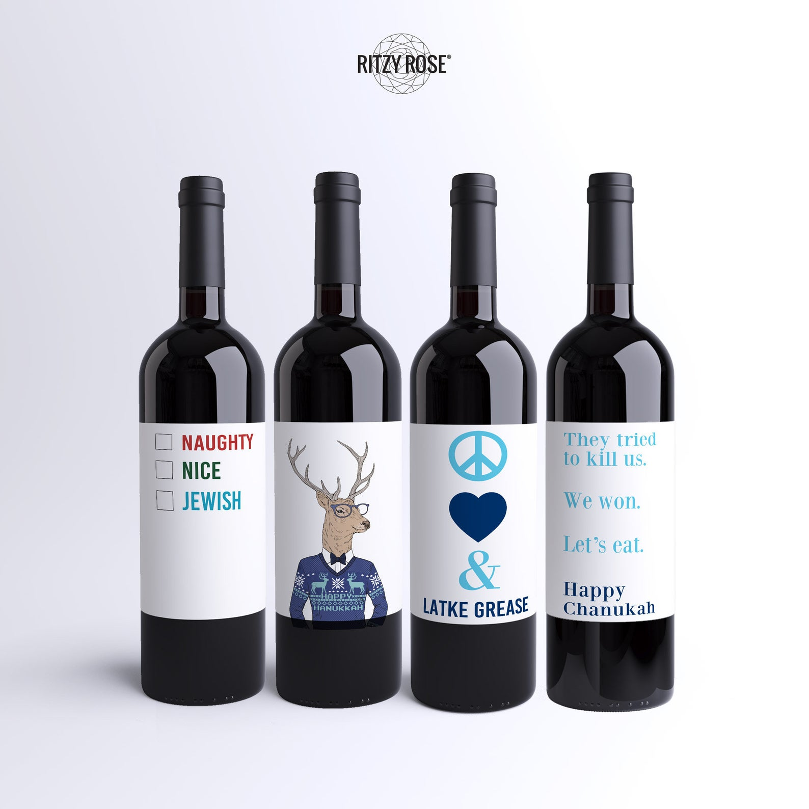 Funny Hanukkah wine labels from the Ritzy Rose: Comes in a set of 8
