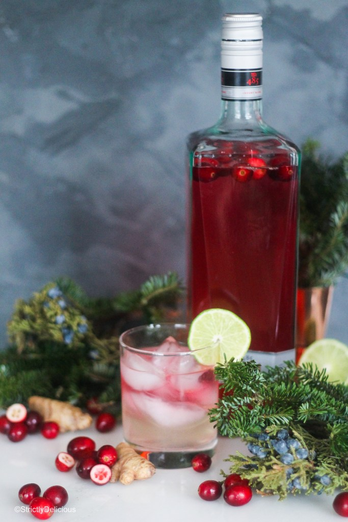 Cranberry ginger gin homemade liqueur gift | Strictly Delicious