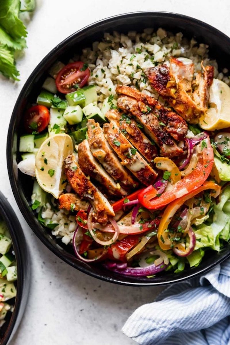 Weekly meal plan: Sheet Pan Chicken Shawarma Bowls at The Real Food Dietitians