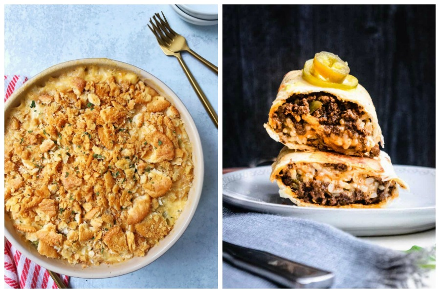 Weekly meal plan: Broccoli Casserole at My Casual Pantry and Crispy Beef Burritos at Josie and Nina