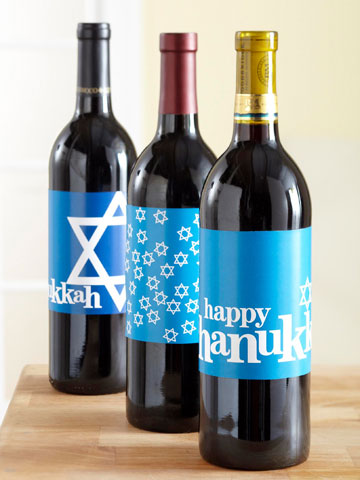 Creative ways to wrap a bottle of wine: Printable Hanukkah bottle labels from from BHG