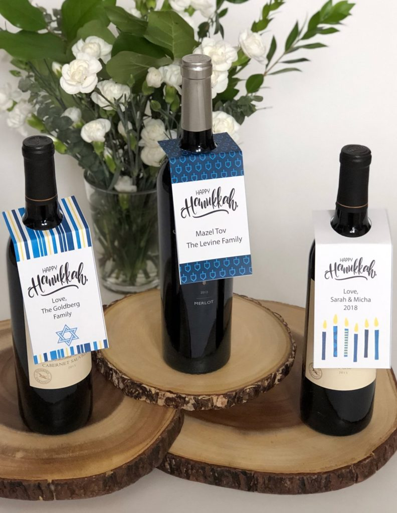 8 ways to gift wrap a bottle of wine: Print personalized, printable Hanukkah gift tags