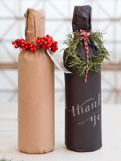 8 ways to gift wrap a bottle of wine: Use Kraft paper with a flourish | Terrain via Boston Mamas