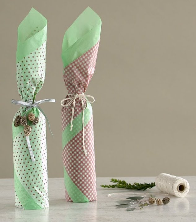 Creative ways to wrap a bottle of wine: Tissue paper like you've never seen it via Martha Stewart