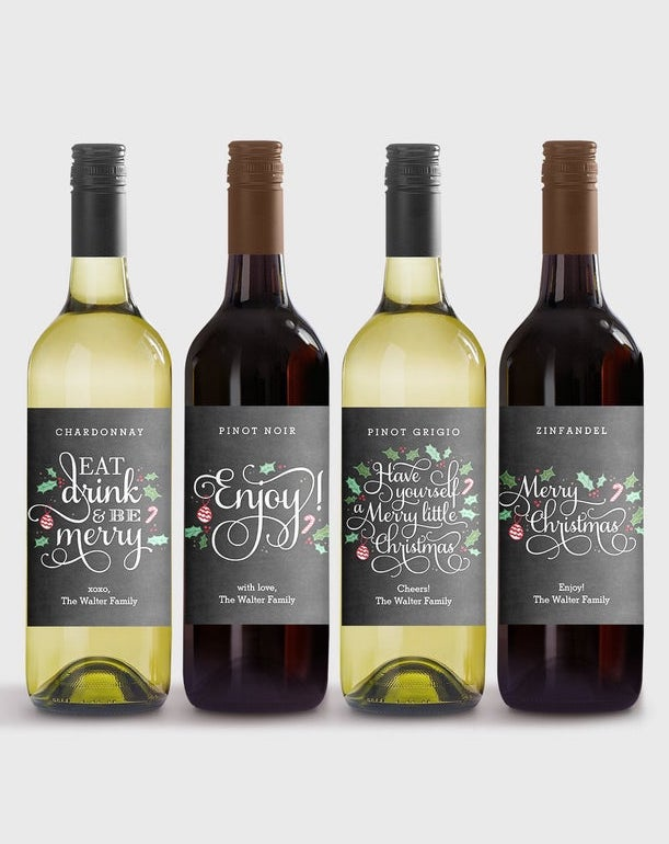 8 creative ways to gift wrap wine: Download printable holiday wine labels you can customize, from Berry Berry Sweet