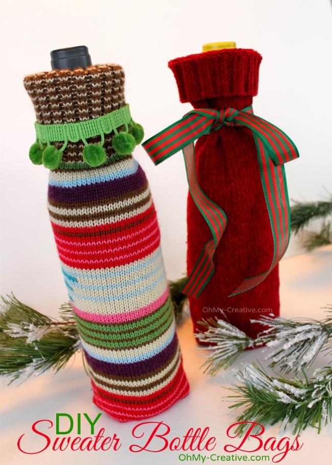 Creative ways to gift wrap wine: Repurposed sweater sleeves as wine sleeves via Oh My! Creative