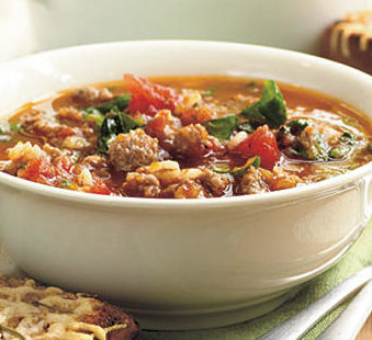 5-Ingredient Soups: Sausage-Barley Soup by Oxmoor House for My Recipes