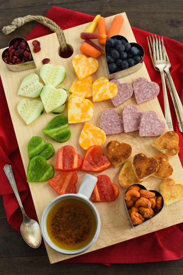 Heart-shaped cookie-cutter Valentine's Day snack board from Foxes Love Lemons