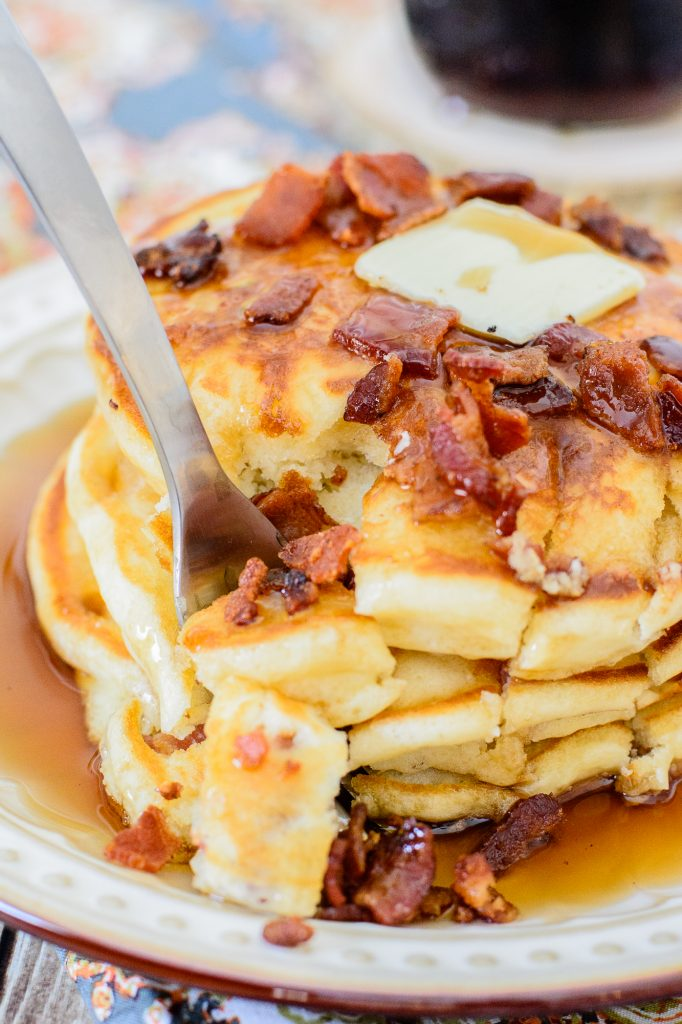 Indulgent pancake hacks forNational Pancake Day: Maple Bacon Pancakes from Almost Supermom