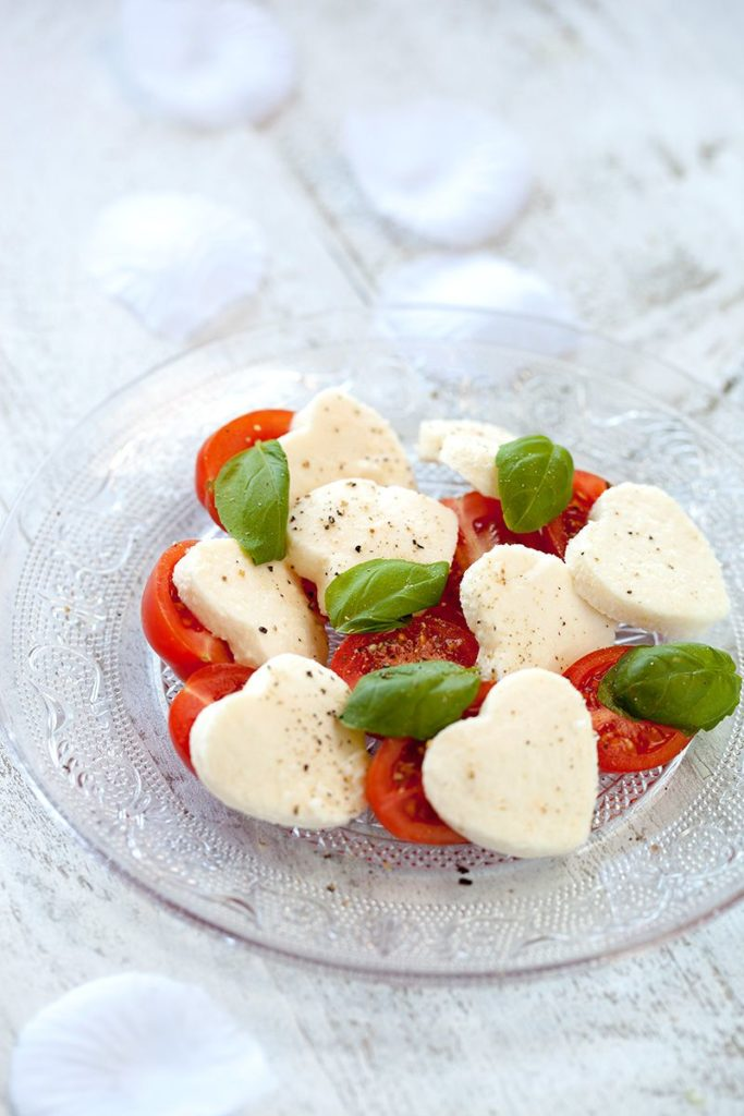 Heart-shaped cookie cutter caprese salad | Oh My Dish