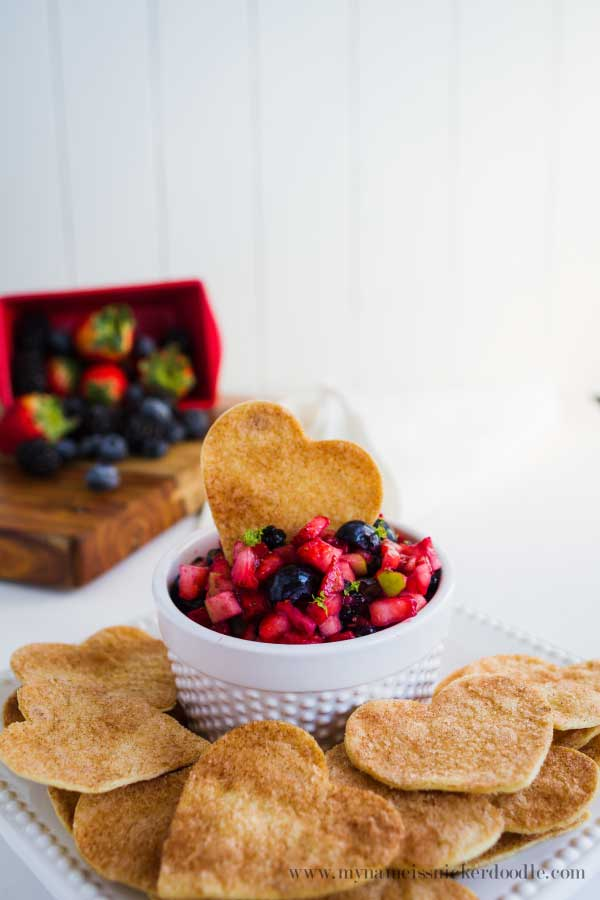 Heart-shaped cookie cutter Valentine's Day tortilla crisps | My Name is Snickerdoodle