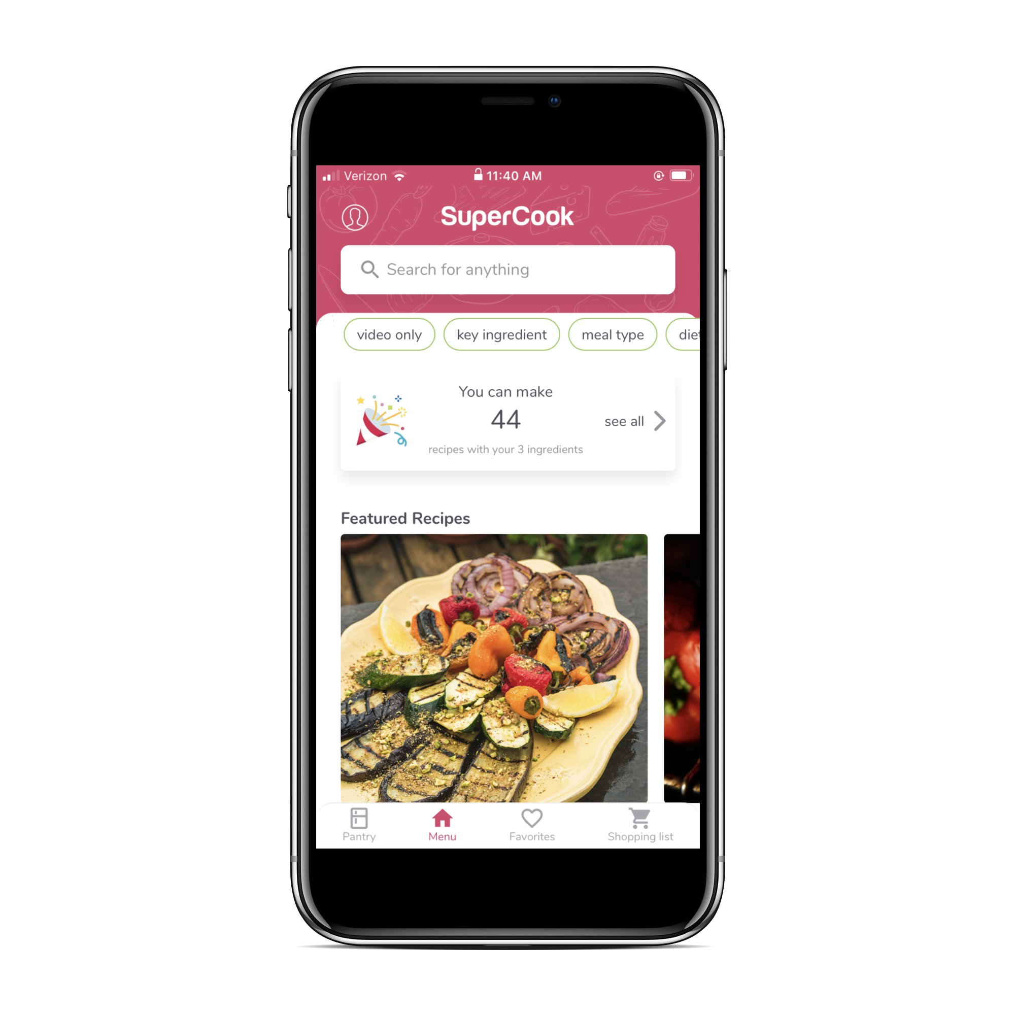 Recipe apps that let you search by ingredient: SuperCook