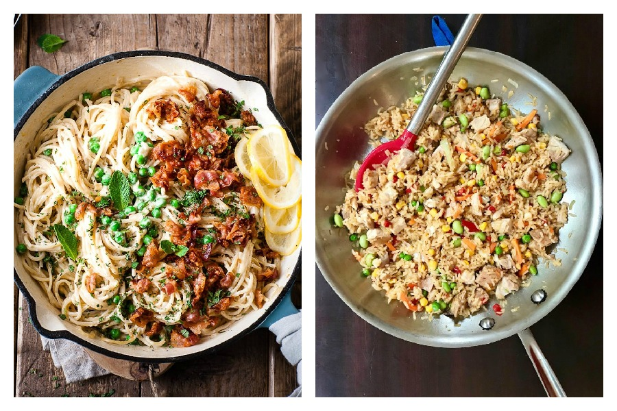 Weekly meal plan: One-pot Pasta at Salted Mint and Fried Rice by Jane Sweeney at Cool Mom Eats