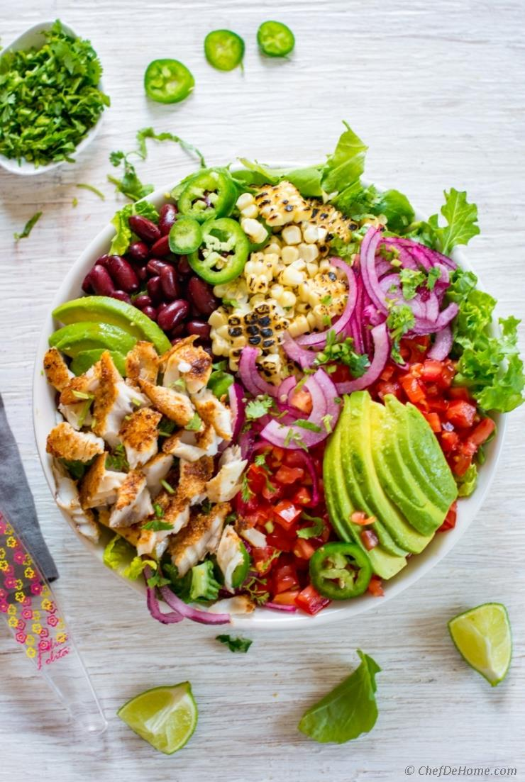 Meatless meals like taco bowls are easy, and extra special with avocado cojita dressing at Chef de Home