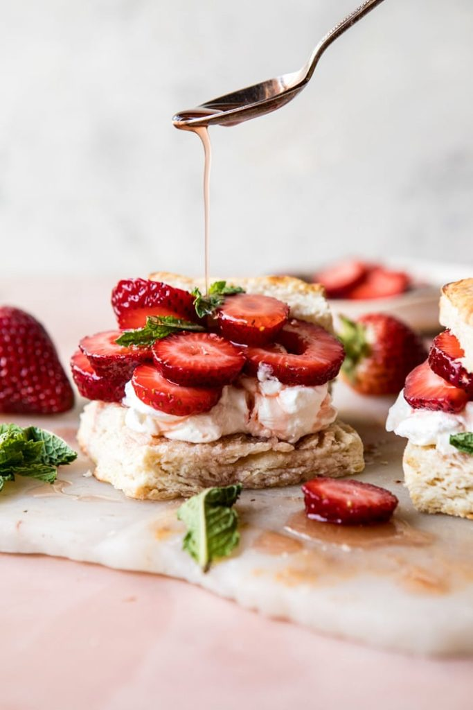 Add a little bourbon to this strawberry shortcake recipe from Half Baked Harvest for a boozy Father's Day dessert he'll remember