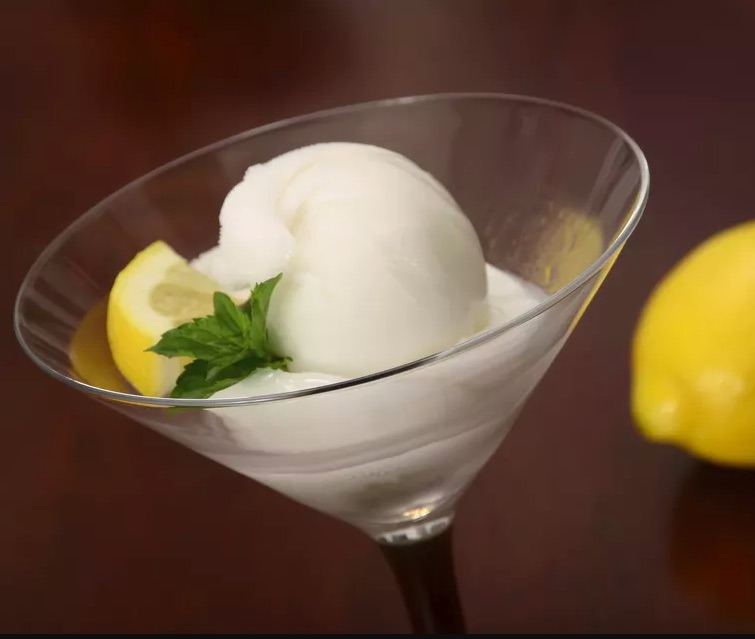 This tangy Vodka Lemon Sorbet from The Spruce Eats makes a delicious boozy treat for Father's Day
