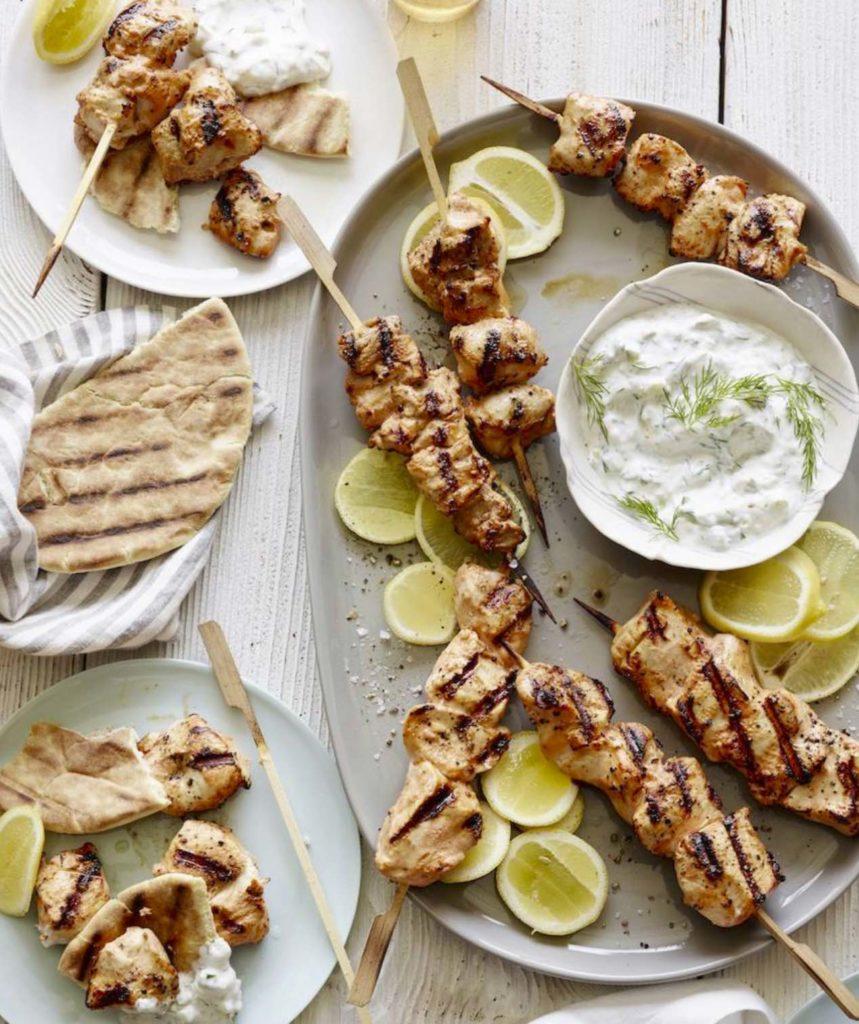 Yogurt Marinated Grilled Chicken Skewers from WhatsGabyCooking