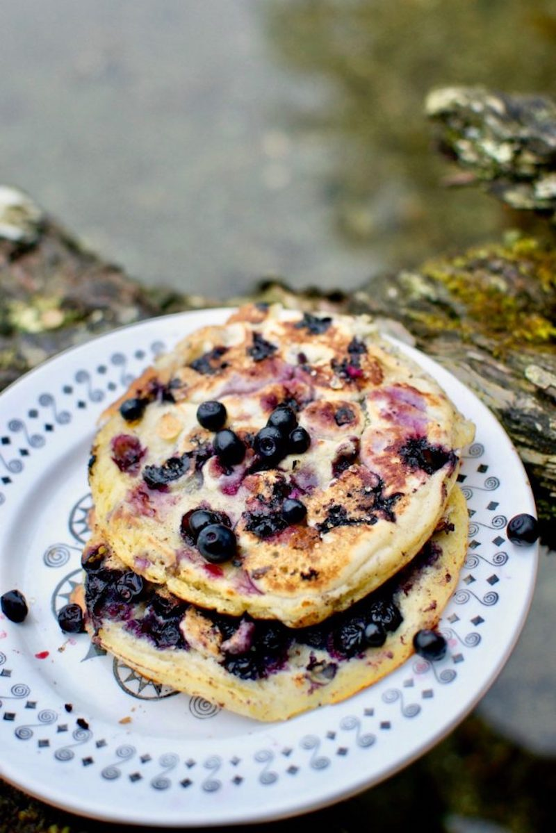 Easy backyard camping recipes: Blueberry pancakes at Vegan on Board