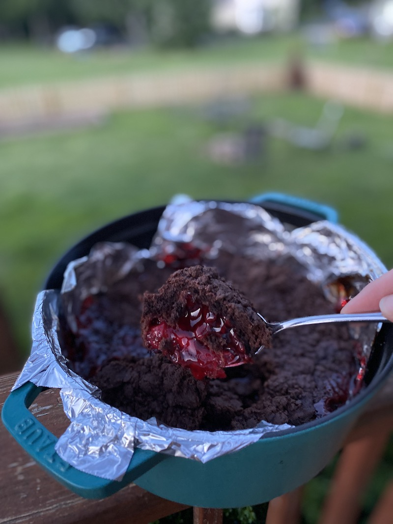 Easy backyard camping recipes: Chocolate dump cake © Kate Etue for Cool Mom Eats