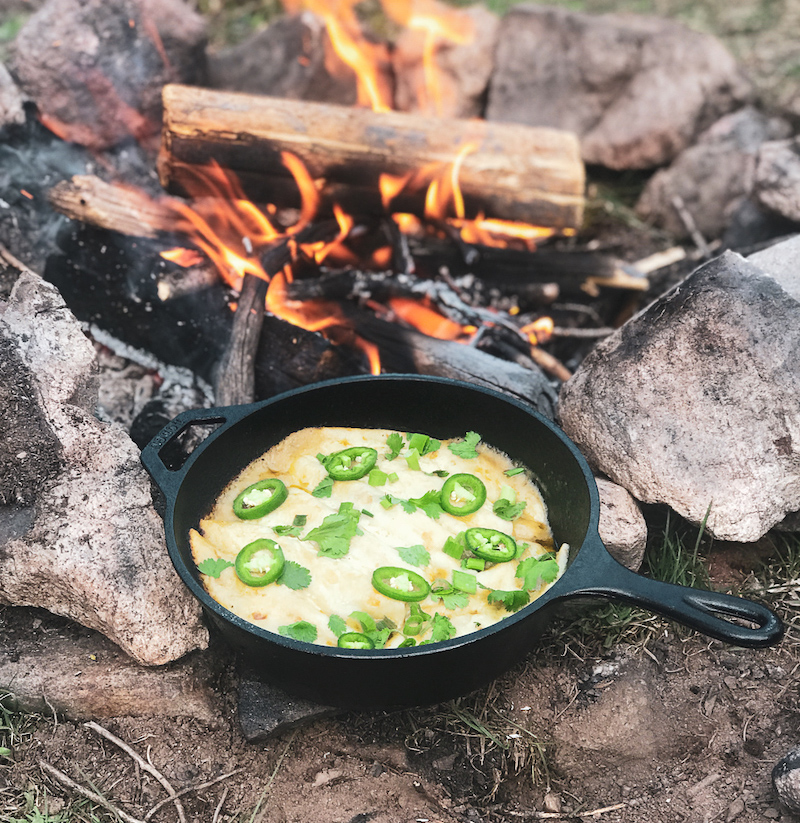 Easy backyard camping recipes: Dutch oven enchiladas at The Back Country Kitchen