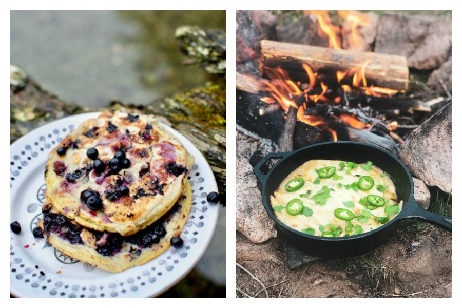 Easy backyard camping recipes: Blueberry pancakes at Vegan on Board and Campfire Enchiladas at The Back Country Kitchen