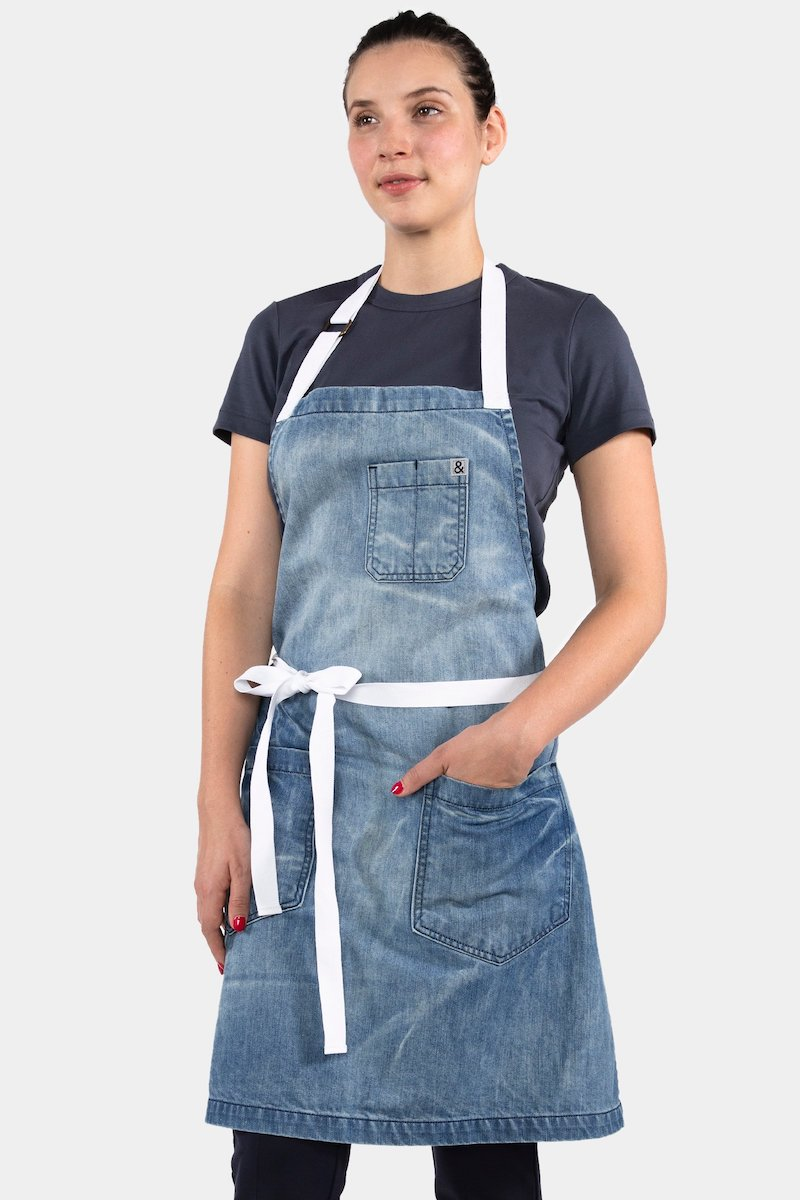 Modern aprons for spring we love: Hedley & Bennett's denim apron for spring is modern and durable.