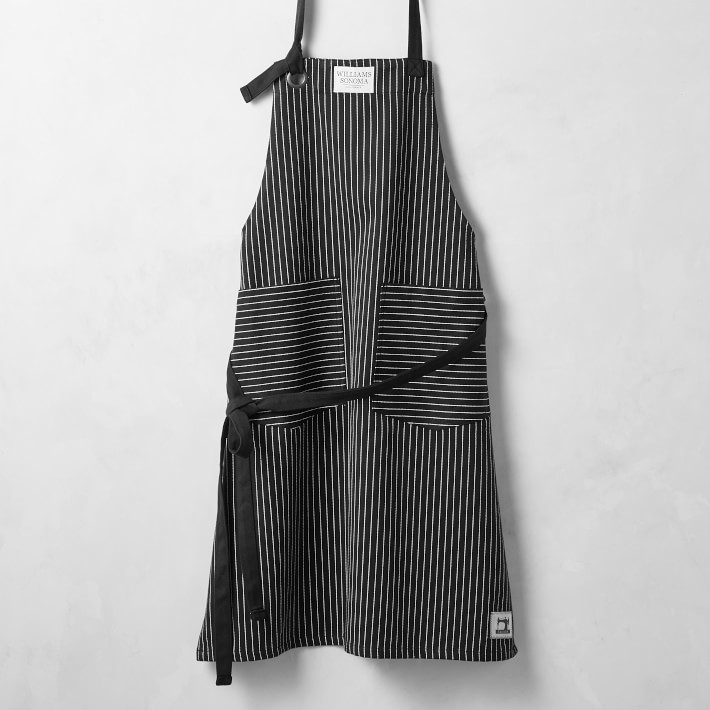 Modern aprons for spring we love:  Black pinstripes from Williams-Sonoma are our new little black dress, haha.