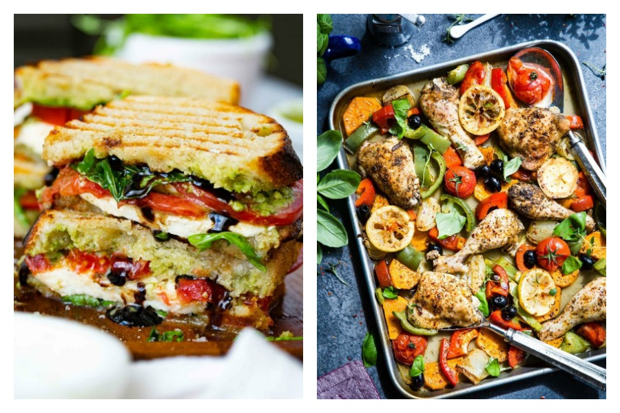 Weekly meal plan: 5 easy meals with almost no clean-up, like these Caprese sandwiches at Oh, Sweet Basil and a sheet pan chicken dinner at Garlic Matters