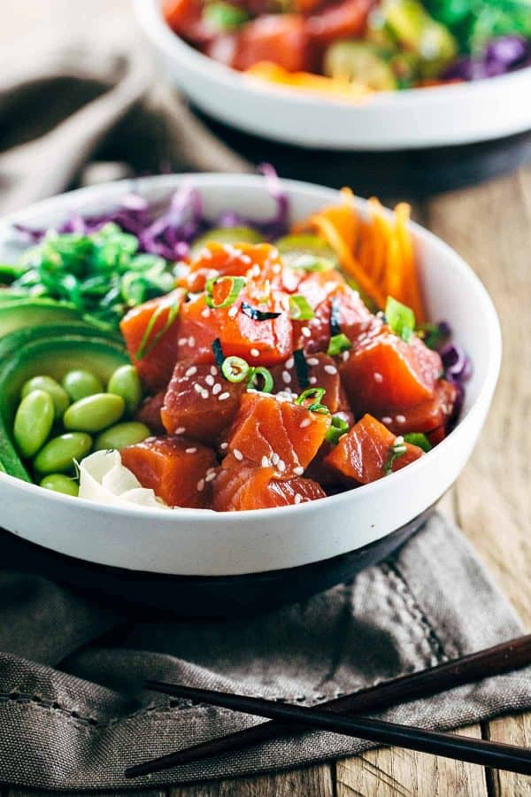 Weekly meal plan: 5 no-cook dinners, like these spicy poke bowls at Jessica Gavin.