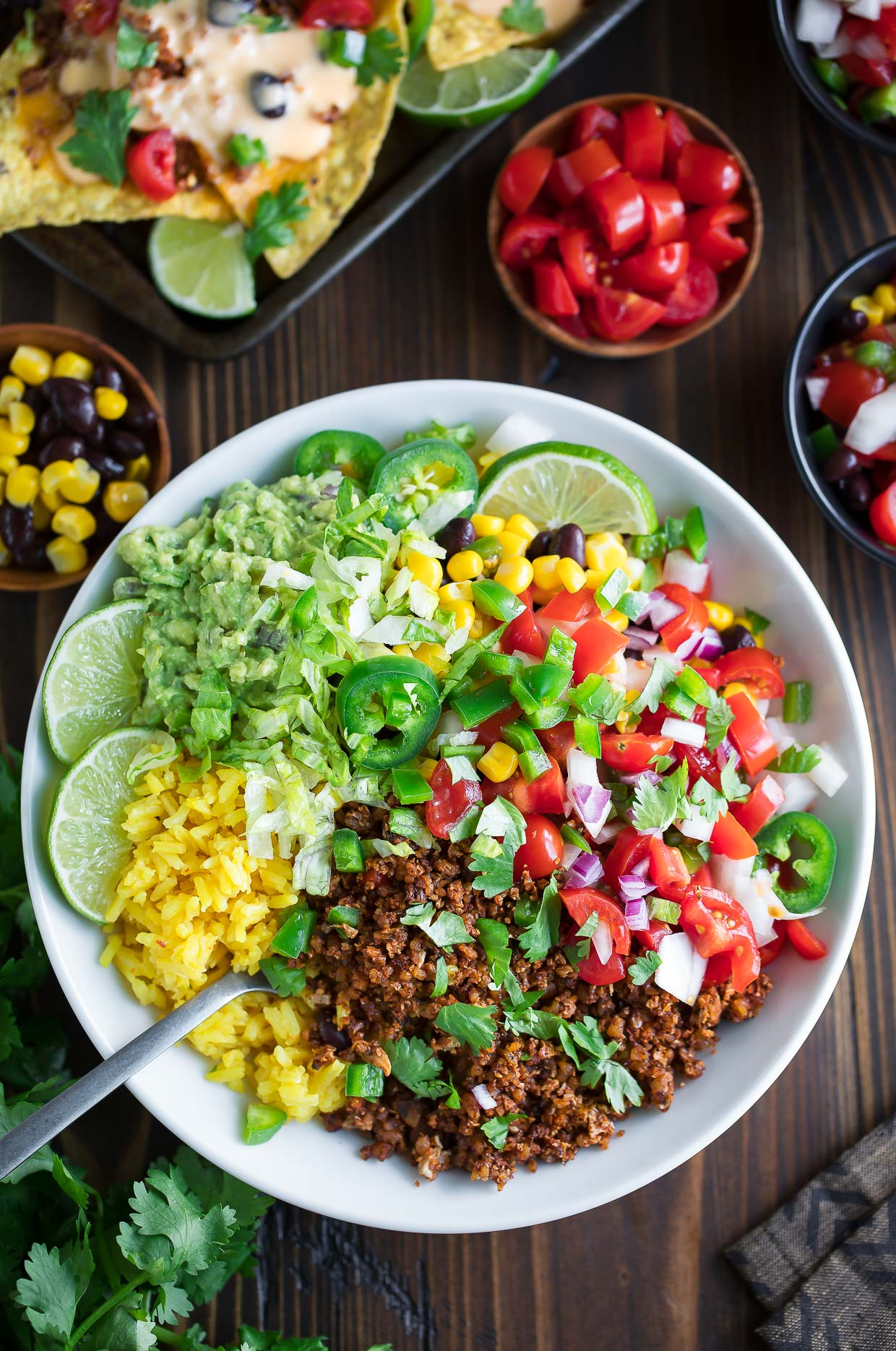 Weekly meal plan: 5 no-cook meals, like easy taco bowls (sans meat) | Vegetarian Taco Bowls at Peas & Crayons