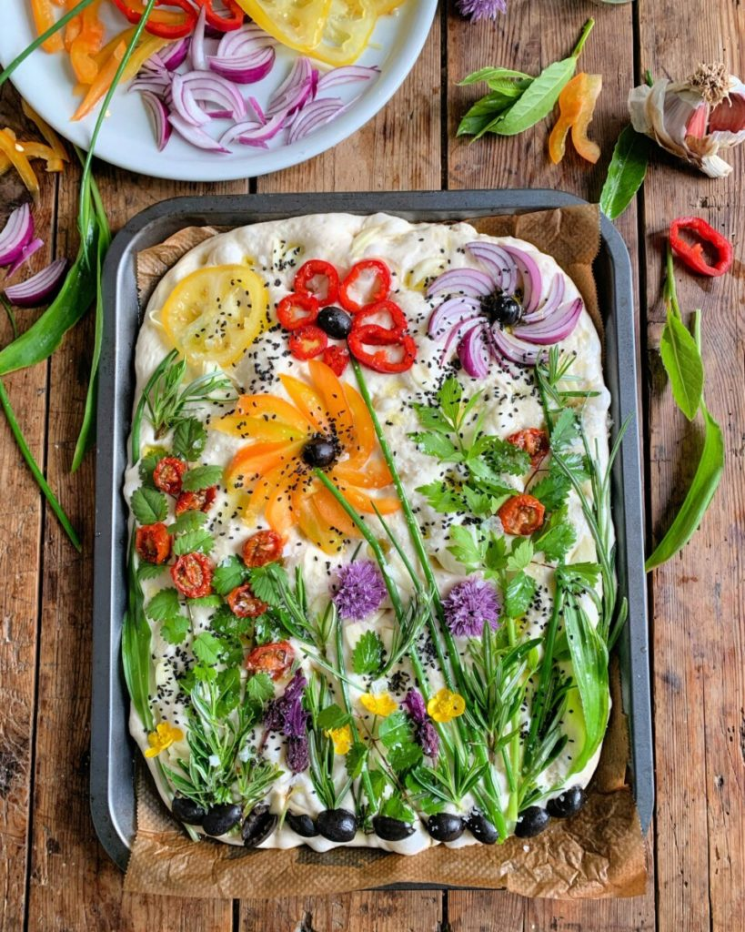 Create a beautiful focaccia garden for Easter like this one from Lavender and Lovage