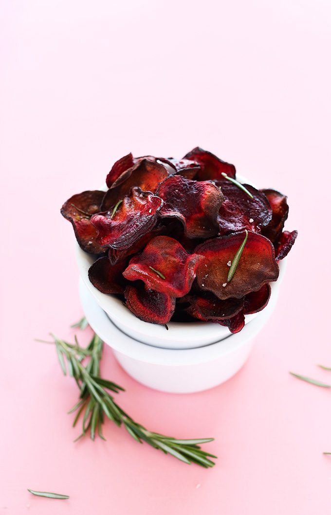 What to make with your July CSA box? Try these Rosemary Beet chips at Minimalist Baker