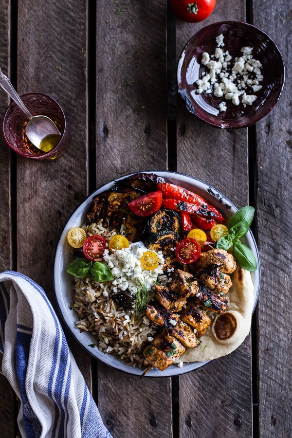 What to make with your July CSA box? This Greek Chicken and marinated eggplant bowl at Halfbaked Harvest