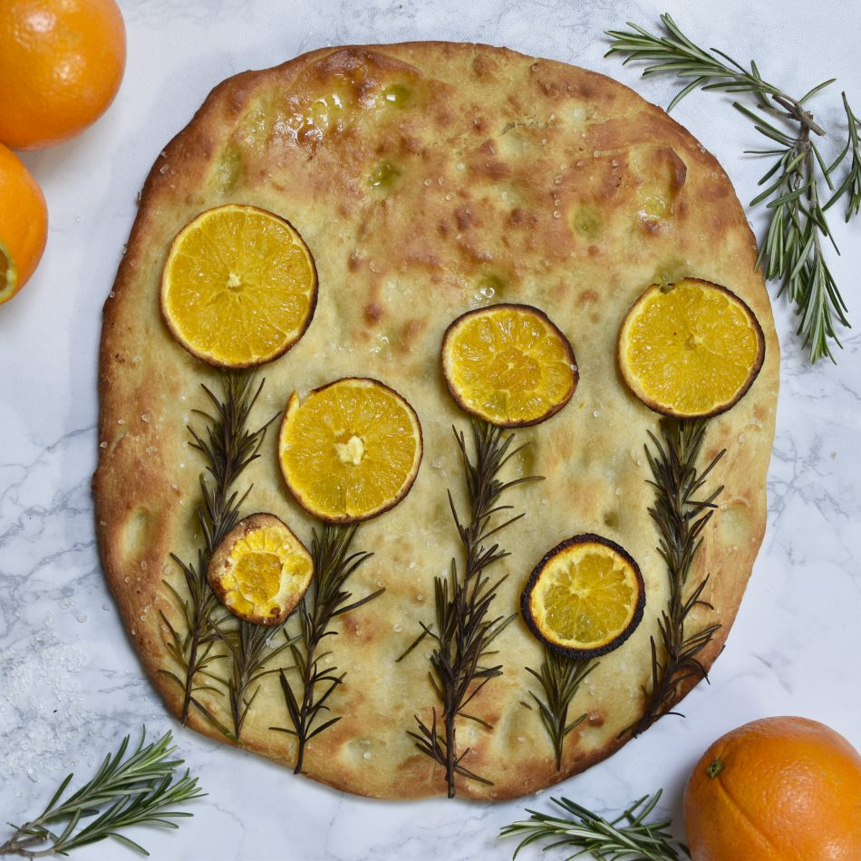 Easter Brunch Orange Focaccia Garden from Anne Travel Foodie makes an interesting dish for the table