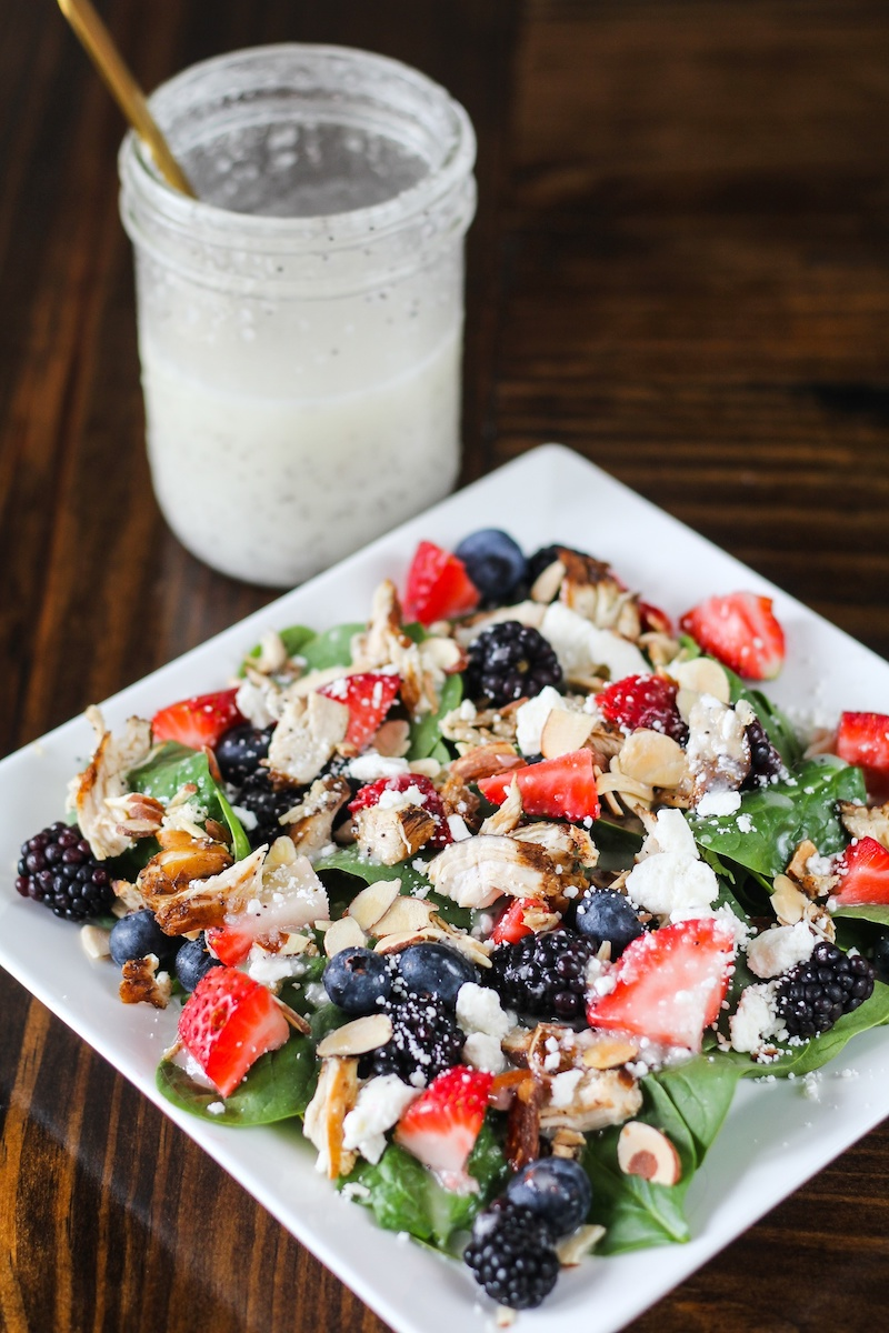 Seasonal berries recipes: Grilled Chicken and Berry Salad at Jen Around the World