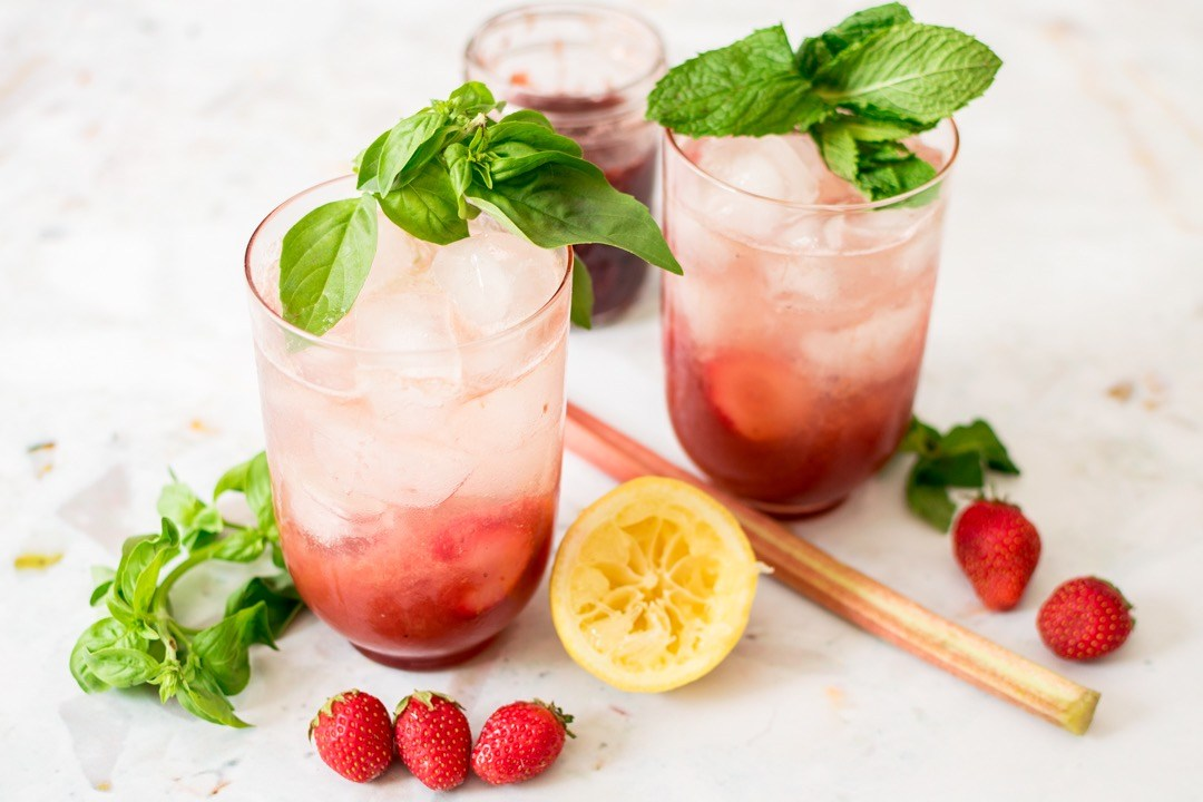 What to make with your July CSA veggies: This Berry Rhubarb Gin Fizz at Pinch Purrfect looks delish.