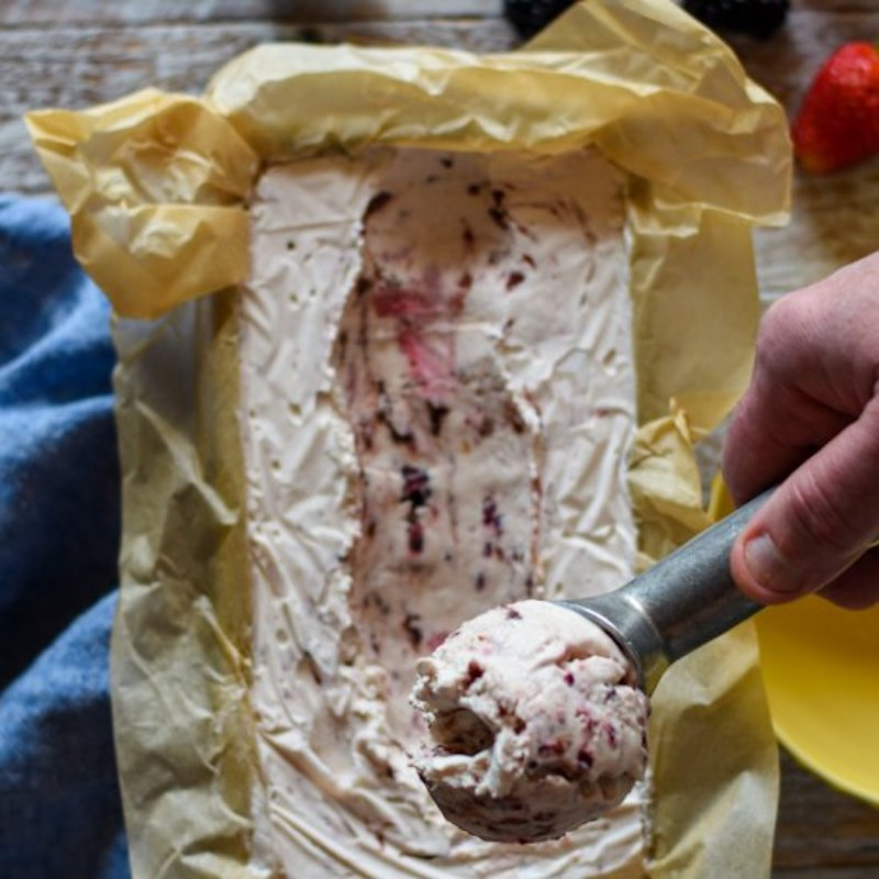 Seasonal berry recipes: No-churn Roasted Berry Ice Cream at The Perks of Being Us