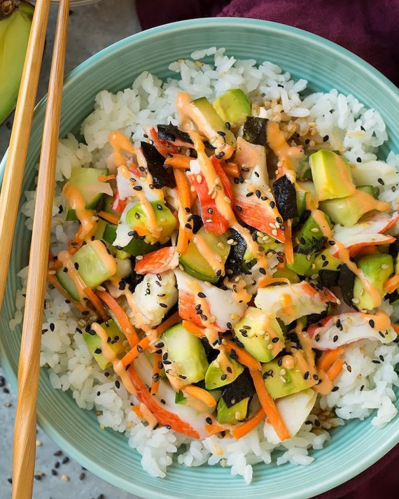 Our Facebook group flipped for this deconstructed California roll rice bowl, which is easier and more affordable than ordering in sushi. Recipe: Cooking Classy | 5 fantastic dinner recipes that offer twists on the same-old at Cool Mom Eats