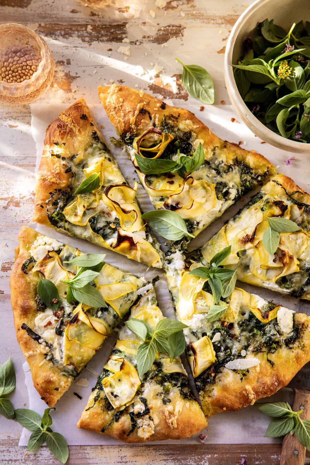 What to make with the veggies in your August CSA box: Garden Greens Pizza at Halfbaked Harvest