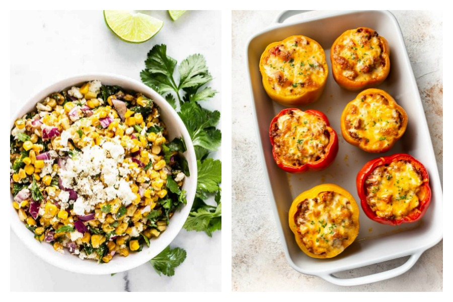 What to make with the veggies in your August CSA box | Street Corn Salad at Pass Me Some Tasty and Stuffed Peppers at Salt & Lavender