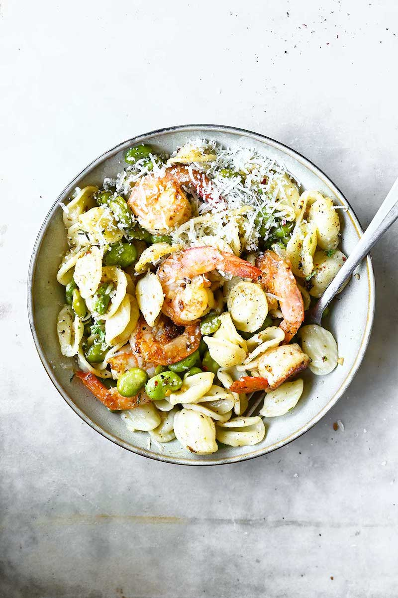 What to make with veggies from your August CSA Box: Sautéed Shrimp and Fava Bean Pasta at Serving Dumplings