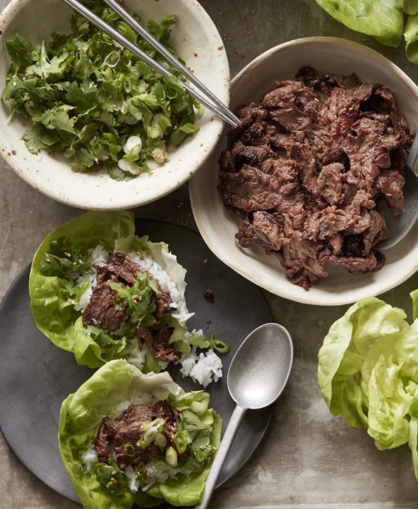 Weekly Meal Plan: Beef Bulgogi Lettuce Wraps from What's Gaby Cooking